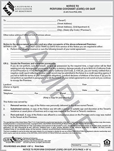 notice to perform real estate transaction - san pedro real estate attorney